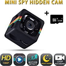 Spy Camera Wireless Hidden Camera with Audio, Hidden Spy Camera Detector with 1080P HD Video, Hidden Security Cameras for Homes with 32G SD Card, Night Vision, Built-in Battery