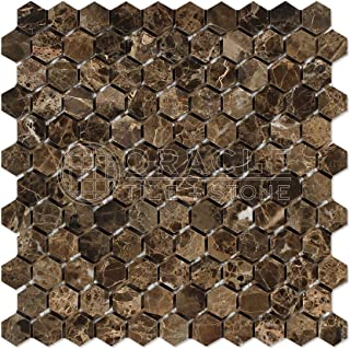 Emperador Dark Spanish Marble 1 inch Hexagon Mosaic Tile, Polished