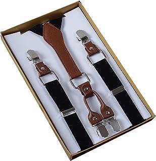 Panegy Men's Women's 4 Clips Adjustable Suspenders Elastic Y Shape Braces-Black