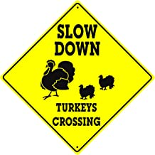 Slow Down Turkeys and Chicks Crossing Caution Xing Animal Farm Ranch Funny Hunter Novelty Road Wall Décor Diamond Metal Aluminum 12