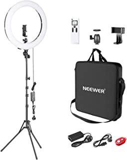 Neewer Advanced 2.4G 18-inch LED Ring Light, Bi-Color 3200-5600K Dimmable with LCD Screen and 2.4G Wireless Remote, Revers...