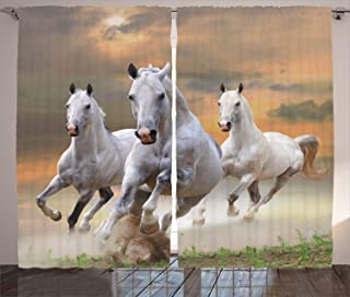 """Ambesonne Horses Curtains, Stallion Horses Running on a Mystic Sky Background Male Champions Print, Living Room Bedroom Window Drapes 2 Panel Set, 108"""" X 84"""", White Orange"""