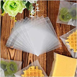 200 pcs Self Sealing Frosted Cookie Bags Cellophane treat bag for chocolate candy dessert baking biscuit party favor gift -opp bag (3.93×3.93inches)
