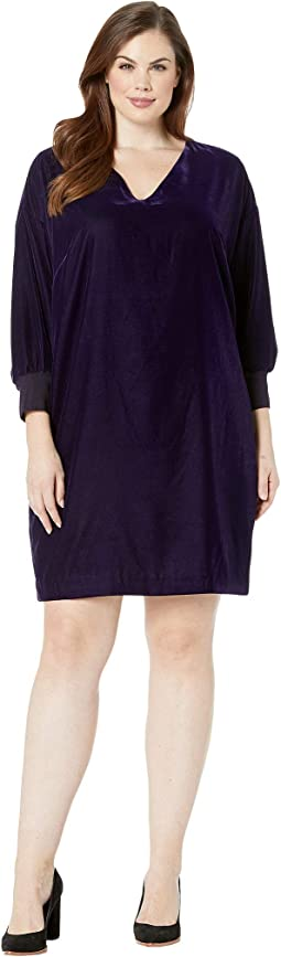 Plus Size Velvet V-Neck Dress