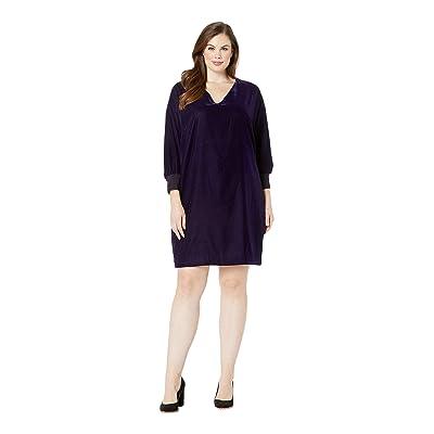 LAUREN Ralph Lauren Plus Size Velvet V-Neck Dress (Deep Amethyst) Women