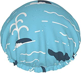 Dwuwarstwowa czapka prysznicowa, pływanie wieloryba morskie fale wzór bezszwowy, wodoodporne elastyczne czepki kąpielowe, ...