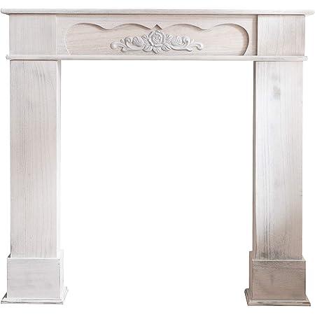 ts-ideen style Chemin/ée campagnard d/écorative mannequin en bois couleur blanc