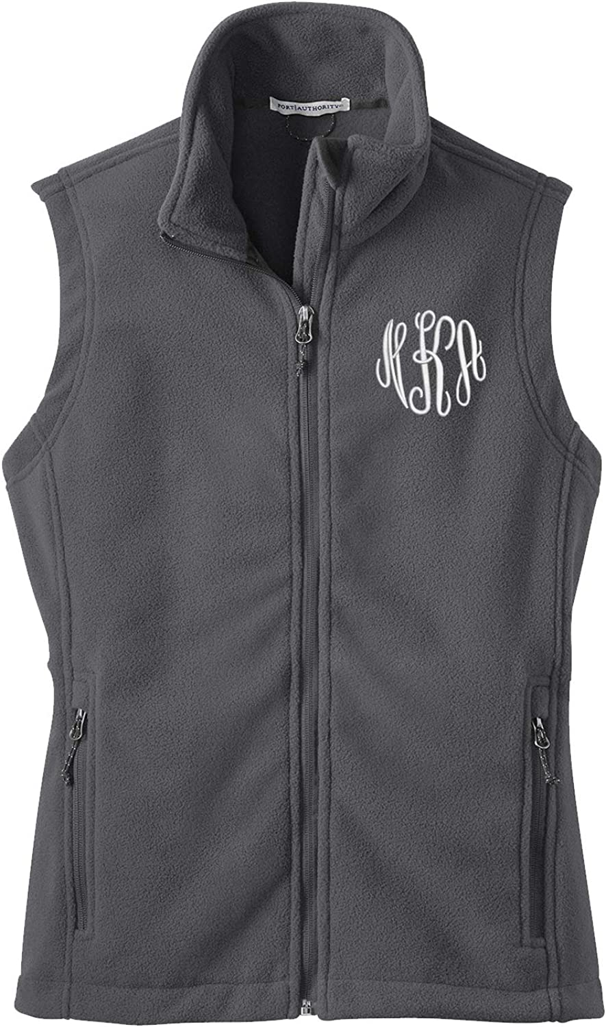 Ladies Monogrammed Fleece Vest in Sale price Personalized Manufacturer direct delivery - Gre