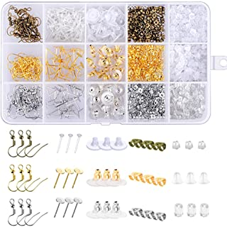 Paxcoo 1200Pcs Earring Backs Kit with 15 Style Earring backings Earring hooks and Earrings posts