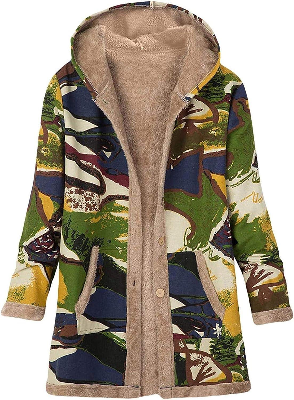 Jackets for Women Casual Fall Winter Plus Size Hoodie Coats Boho Vintage Graphic Plush Warm Jacket Windbreaker