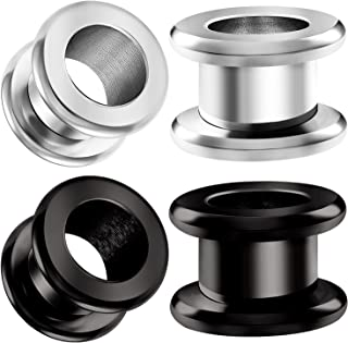 2 Pairs 316L Surgical Steel Black Anodized Screw Tunnels Rounded Edges Piercing Jewelry Ear Stretching Lobe Plug Earring