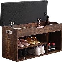 مقعد تخزين خزائن الأحذية من تينساوود مع وسادة، رف حذاء ثلاثي الطبقات مقصورة مفتوحة للأحذية والحذاء، بني كلاسيكي