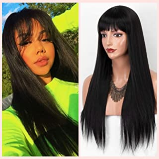 Cute Black Synthetic Wig with Bangs Long Straight Wig for Women Costume Cosplay and Daily Wear Glueless Black Wigs Heat Re...