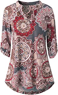 OrchidAmor Womens Long Sleeve Floral Printed Roll-Up Top Casual Button Layered Blouses