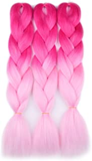 Ombre Braiding Hair (Pink/Light Pink)3pcs Jumbo Braiding Hair Extension For Box Braids Twist 24 Inch Hot Water Seal Real Soft