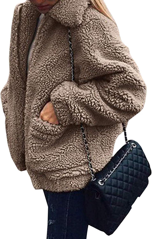 Women's Fuzzy Fleece Jacket Lapel Zip Faux Cardigan Parka Coat Oversized Coat with Pockets