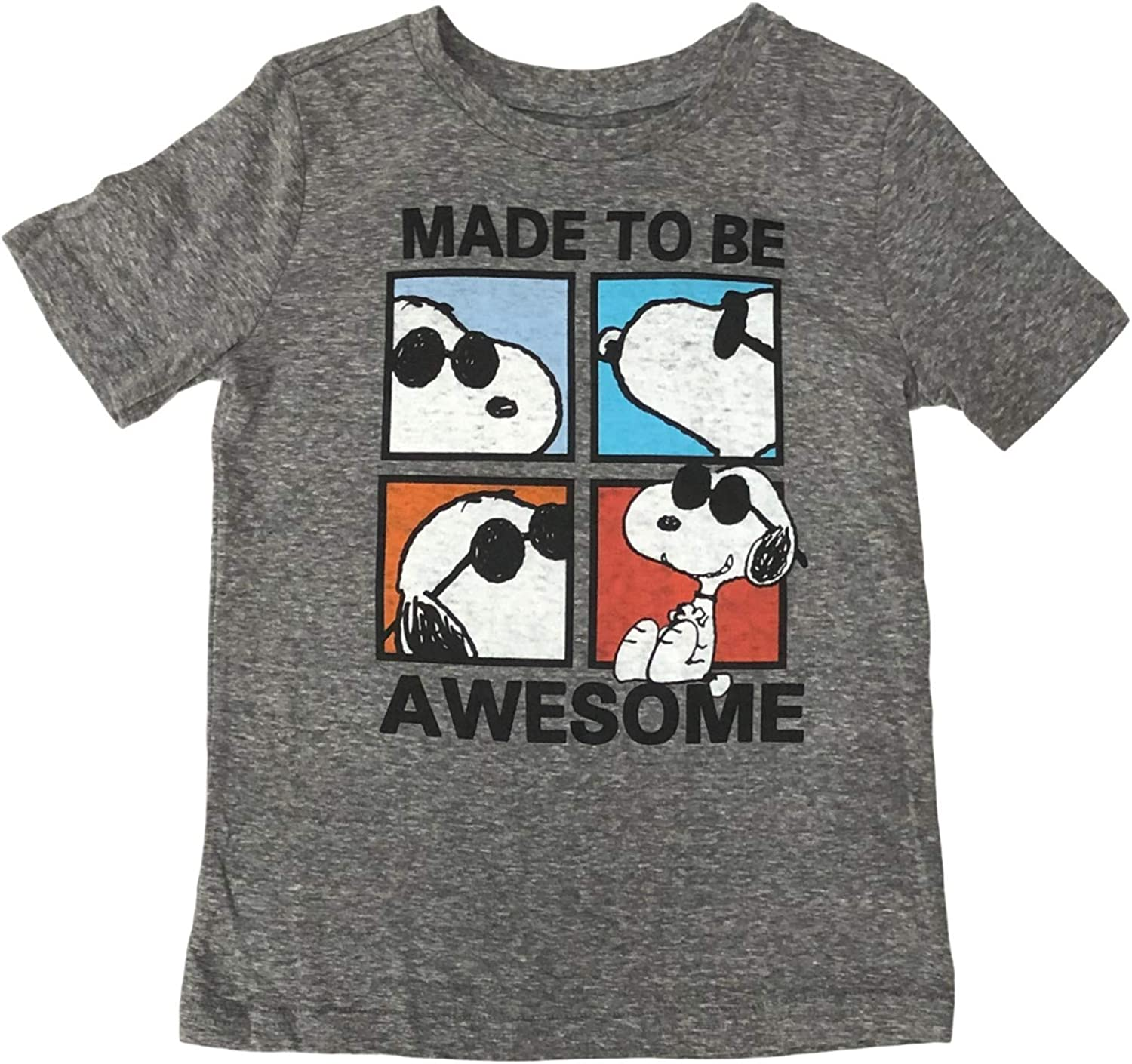 Jumping Beans Peanuts Boys Short Sleeve Gray Snoopy Made Awesome T-Shirt Tee