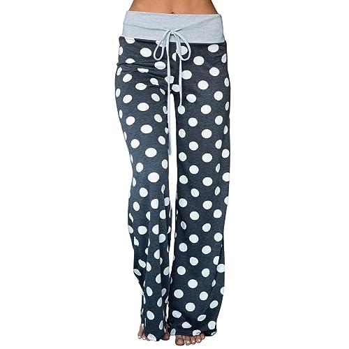 ad5bb1b6ed7 AMiERY Women s Comfy Pajamas Pant Striped Polka Dot Floral Print High Waist Wide  Legs Casual Palazzo