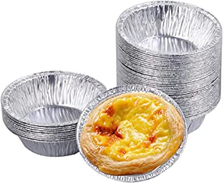 250 PCS Disposable Aluminum Foil Cups Circular Egg T-art Mold Cups for Baking Supplies Household Baking and Pastry Tools(S...