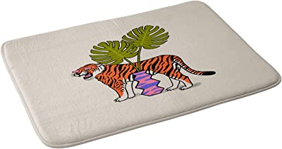 "Society6 Jaclyn Caris Tiger & Plant Bath Mat, 21"" x 34"""