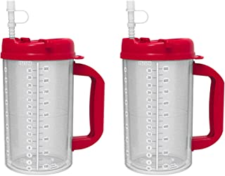 2 Pack of 32 oz Red Double Wall Insulated Hospital Mugs - Cold Drink Mugs - New Swivel Lid Design - Includes 11