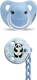 Suavinex - Pack Chupete Tetina Anatómica 6-18 Meses Látex + Broche Redondo. 0% BPA, Diseño Panda Color Azul