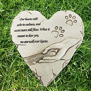 JHP Dog Memorial Stones, Hand-Printed Heart Shaped pet Memorial Gifts Embellished with Sympathy Poem & paw in Hand Design, Meaningful Loss of pet Gift for Outdoor