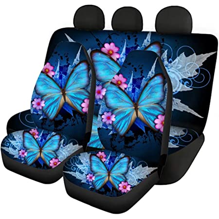 chaqlin Blue Butterfly Car Front Back Seat Covers Full Set of 4 Pieces Universal Fit Most Car SUV Van Truck,Back Seat Protector Pads for Women Ladies Auto Accessories