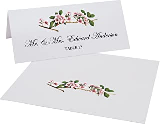 Documents and Designs Pink Cherry Blossoms Place Cards, Set of 60