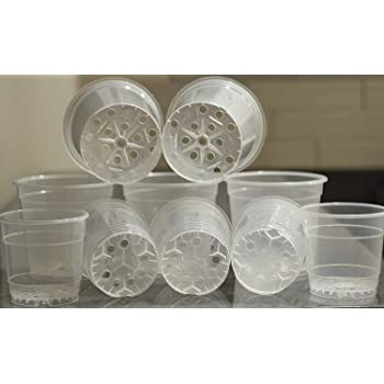 """10 Pack Clear Orchid Pots Set w/Holes Clear Plastic Baskets w/Great Aerification and Drainage 5 Items 6"""" and 5 Items 4,5"""" Two Sizes of Orchid Planter"""