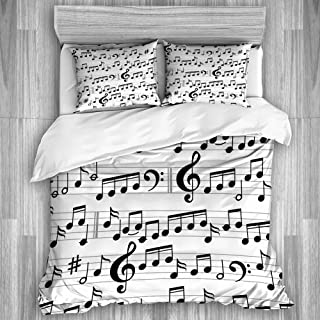 Juego de funda nórdica de 3 piezas, notas musicales abstractas en blanco y negro y clave, juegos de fundas de edredón de microfibra de lujo para dormitorio, colcha con cremallera con 2 fundas de almoh