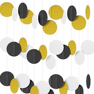 16M/52 Feet Circle Polka Dots Paper Garland Banner (Black+Write+Gold Glitter)