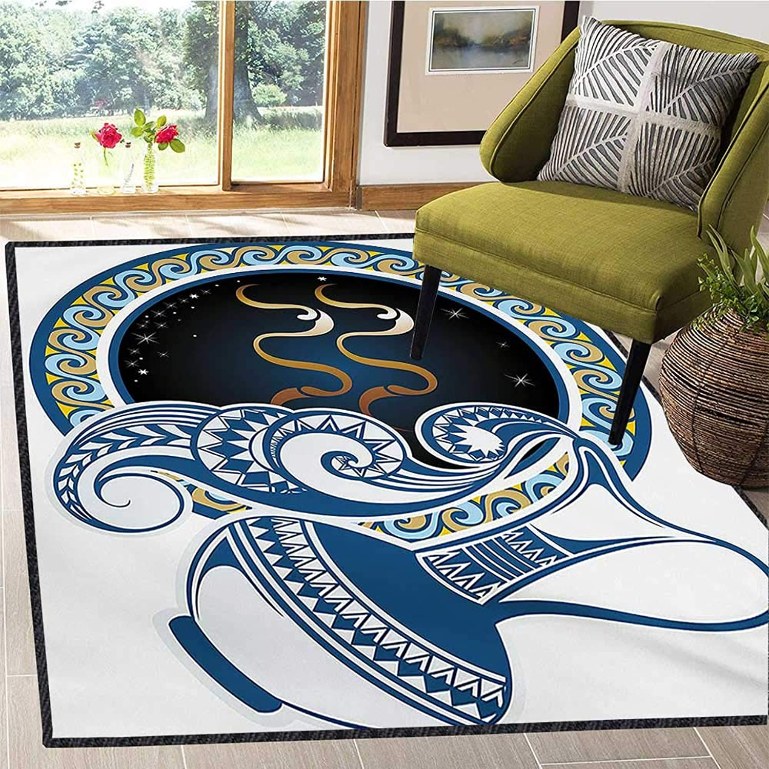 Zodiac, Door Mats for Inside, Image of Aquarius Sign with Jug and Circular Globe World Form on The Background, Door Mat Indoors 6x7 Ft bluee and gold