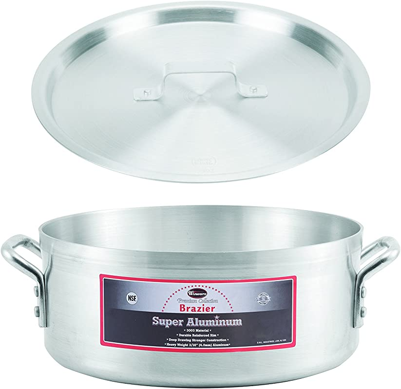 Winco AXBZ 18 18 Quart 16 3 8 X 5 1 2 Super Aluminum Brazier Pan With Cover Heavy Duty Commercial Grade Braiser Pan With Lid NSF