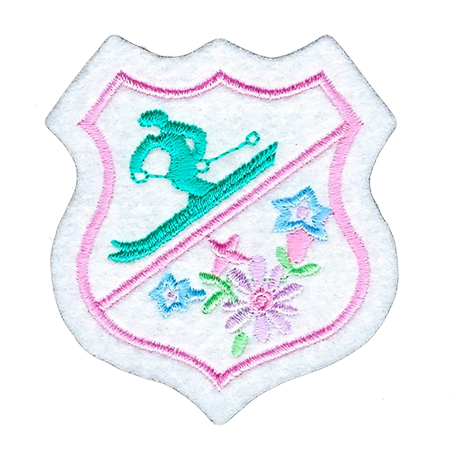 Ski Winter Snow Flowers Shield Badge Iron on Patch Decoration Embroidered Applique for DIY Jeans Jacket Clothing Handbag Shoes Caps and Any Crafts Project