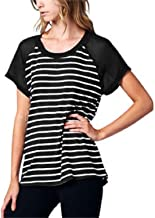 West Kei Ladies' Short Sleeve Top with Chiffon Sleeves- L, Black