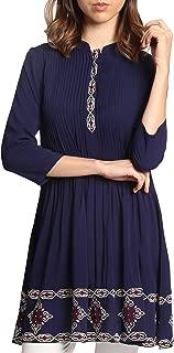 Artizara Womens Zarina Embroidered Modest 3/4 Sleeves Tunic Top Kurti Tunic Dress - Navy Blue