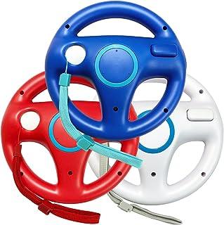 Jadebones 3PCS Blue White Red Mario Kart Steering Wheel with Wrist Strap for Wii and Wii U