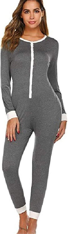 Andongnywell Women's One Piece Pajama Suit Thermal Underwear Sleepwear Ladies Set Nightclothes Pajama Jumpsuit