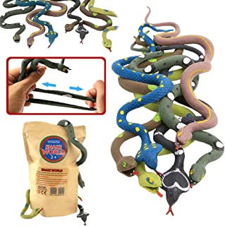 Rubber Snake14 Inch Snake Toy Set(6 Pack)Food Grade Material TPR Super StretchyWith Learning CardValeforToy Realistic Fake...