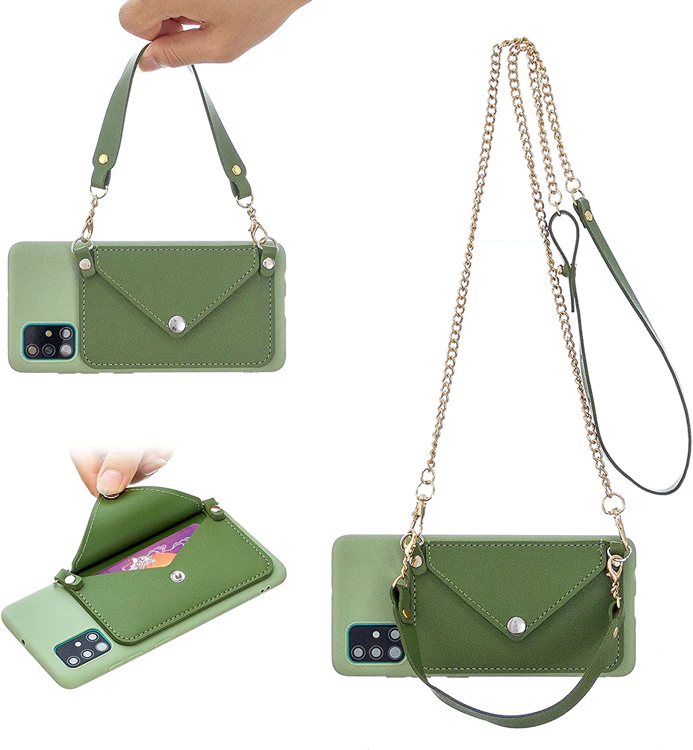 Girlyard for Samsung Galaxy A02s Case with Card Holder and Lanyard, Soft TPU Silicone Wallet Phone Case with Wrist Strap and Crossbody Shoulder Chain Strap Purse Cover for Women Girls - Green