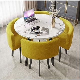 JISHIYU-S Ronda Inicio Sala de estar Mesa de comedor de mármol de 90 cm Mesa redonda simples Piernas Oficina Tabla metal o...