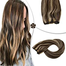 Hetto Hair Extensions Halo Human Hair #4 Brown Highlighted with #27 Blonde Hidden Wire Hair Extension 12 Inch Human Hair 50 Grams Per Package Secret Crown Hair Extensions
