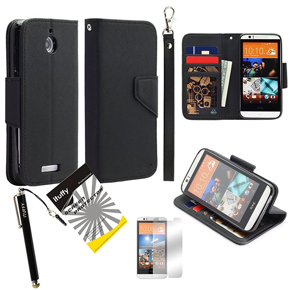 3 items Combo: ITUFFY (TM) LCD Screen Protector Film + Stylus Pen + MultiFunction 2-Tone Portfolio Leather Wallet with Inner Soft TPU Rubber Skin & ID Card Slots with Lanyard and Magnetic closure for HTC Desire 510 512 (Black - Black) xbxlnshl2868
