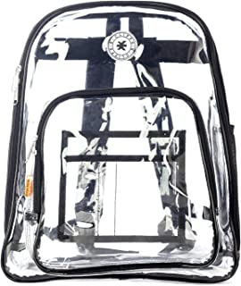 Heavy Duty Clear Backpack Durable See Through Student School Bookbag Quality Transparent Workbag Easy Stadium Security Check Bag Daypack Black