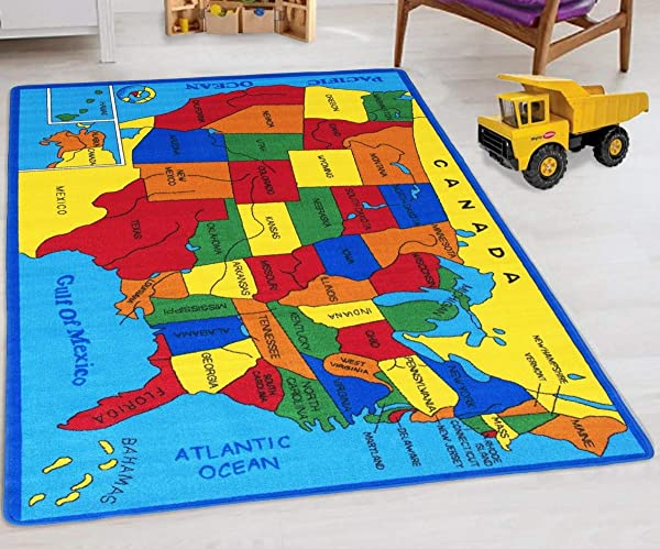 Handcraft Rugs United States Map Educational Kids Rugs Non Slip School Rugs Approximate 8 Ft By 10 Ft