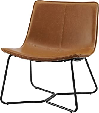Walker Edison Faux Leather Lounge Accent Chair, Whiskey Brown