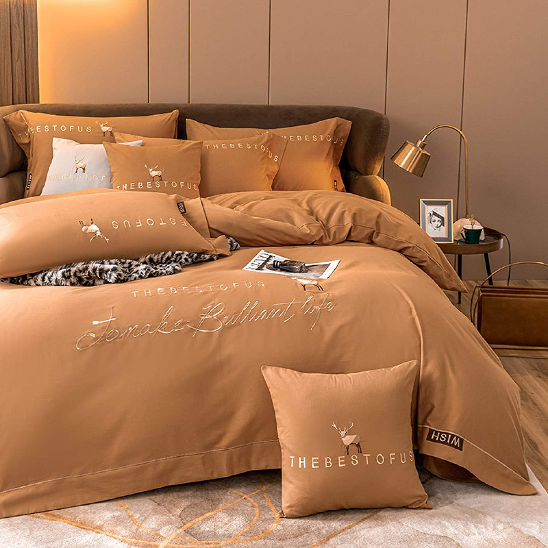 PZDZ High-end luxury solid color long-staple cotton four-piece pure cotton European-style quilt cover bedding
