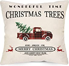 LAVEVE Christmas Pillow Covers 18x18 Inch, Merry Christmas Trees Buffalo Plaid Car Decorative Throw Pillowcase, Linen Square Cushion Cover for Sofa, Couch and Bed
