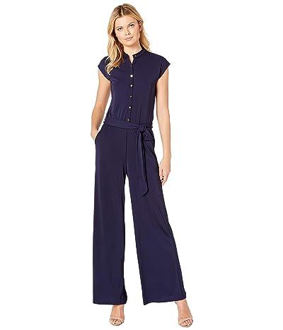 LAUREN Ralph Lauren Buttoned Jersey Jumpsuit (Navy) Women